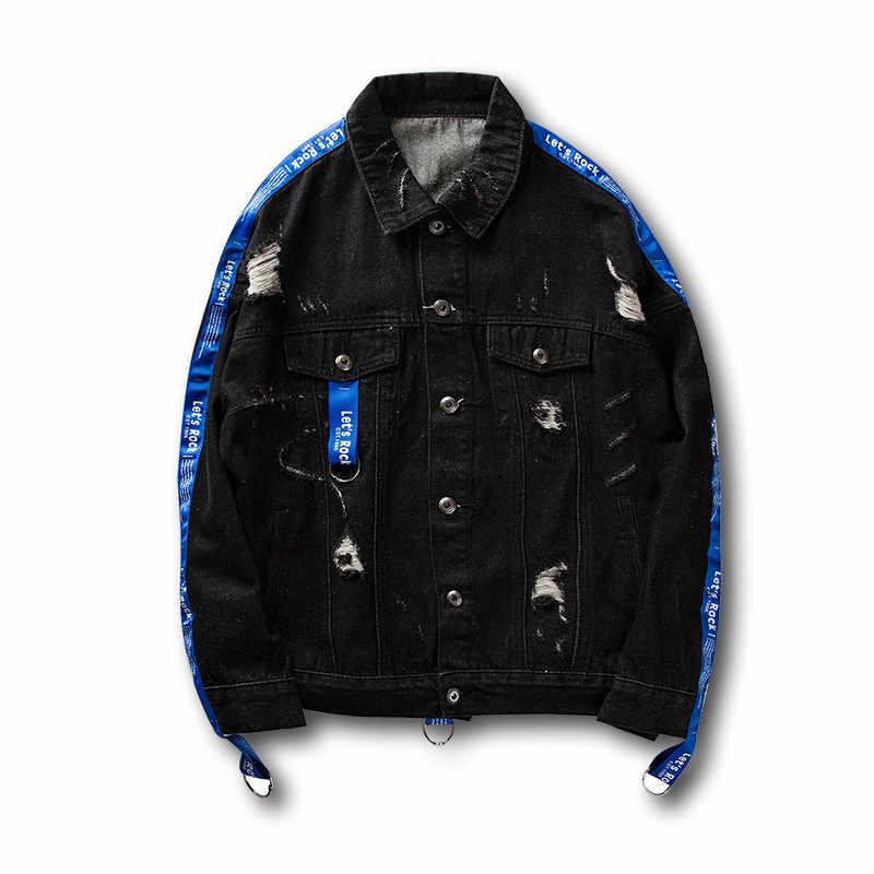 1b51909261f ... Distressed Ripped Denim Jacket Mens Hip Hop Printed Denim Jackets Male  Fashion Ribbon Jeans Coats Streetwear ...
