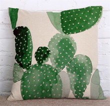 Tropical Plants Green Flower Pillow Cover