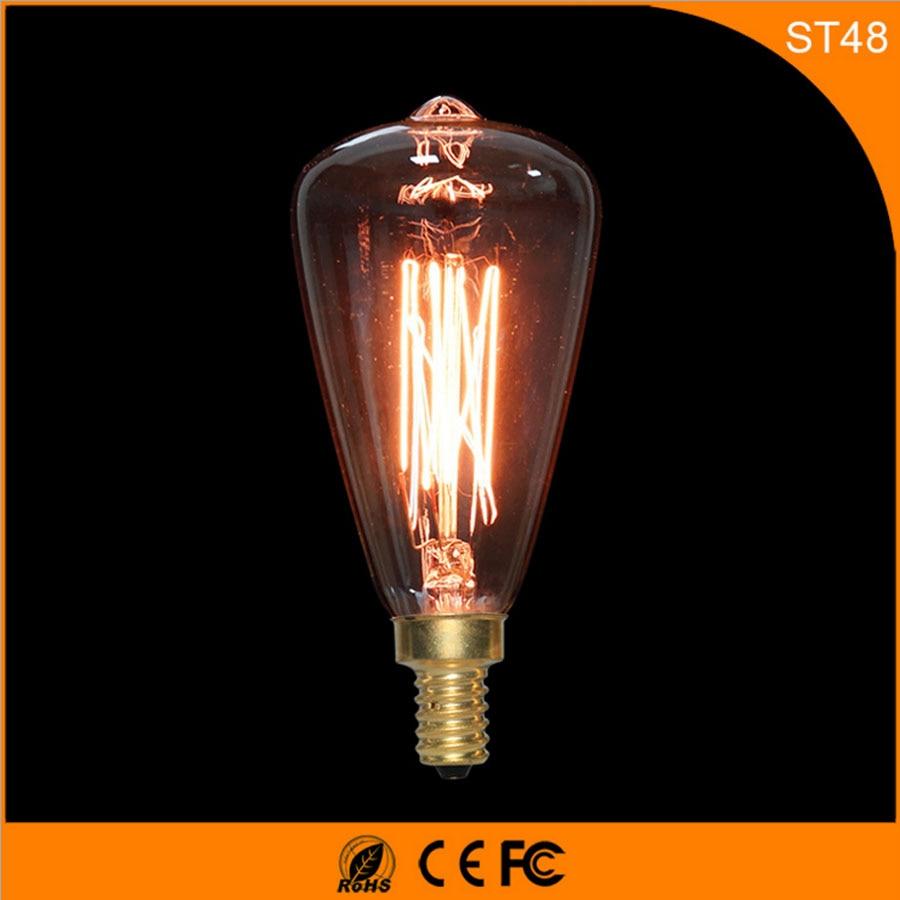 50Pcs Vintage Design Edison Filament E14 LED Bulb ,ST48 40W Energy Saving Decoration Lamp Replace  Incandescent Light AC220V 5pcs e27 led bulb 2w 4w 6w vintage cold white warm white edison lamp g45 led filament decorative bulb ac 220v 240v