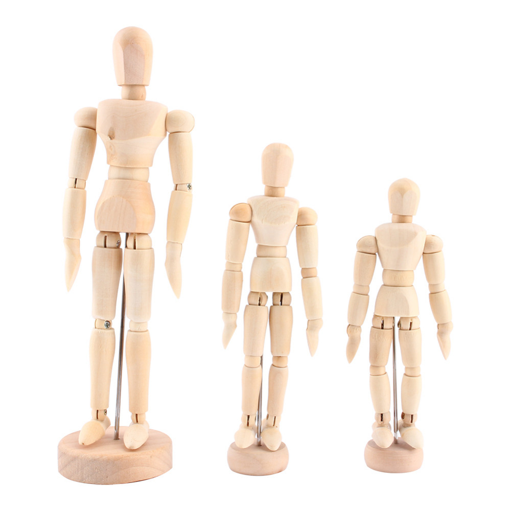 4.5 5.5 8 inch NEW Artist Movable Limbs Male Wooden Toy Figure Model Mannequin bjd Art Sketch Draw Action Toy Figures image