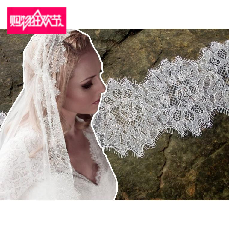 Us 1034 6 Offdouble Edged Scallop Lace Trimming Eyelash Chantilly Lace Trim French Lace Trim For Wedding Dress Bridal Veils Sewing 15meters In