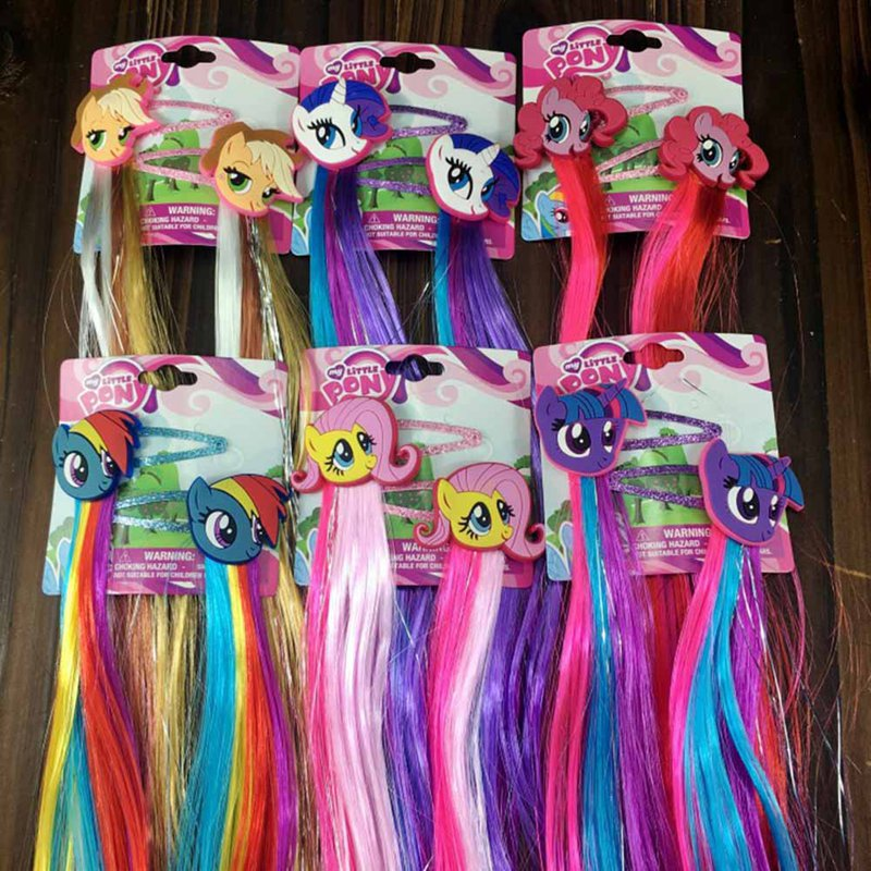 2pcs/Pair Lovely Cartoon Unicorn Hair Clip Colorful Wig Hair Tie Kids Girls Hair Pins  Hair Accessories With Wig Decoration