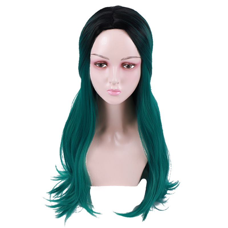 Allaosify Long Dark Green Synthetic Wigs for Black Women Wigs with Bangs Overwatch Cosplay Toupee Hair for Women Straight wigs(China)