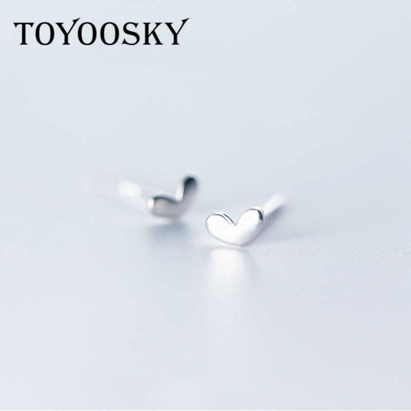 925 Sterling Silver Tiny Shiny Polish Mini 3mmX5mm Heart Stud Earrings Simple Small for Women Minimalist Studs Jewelry