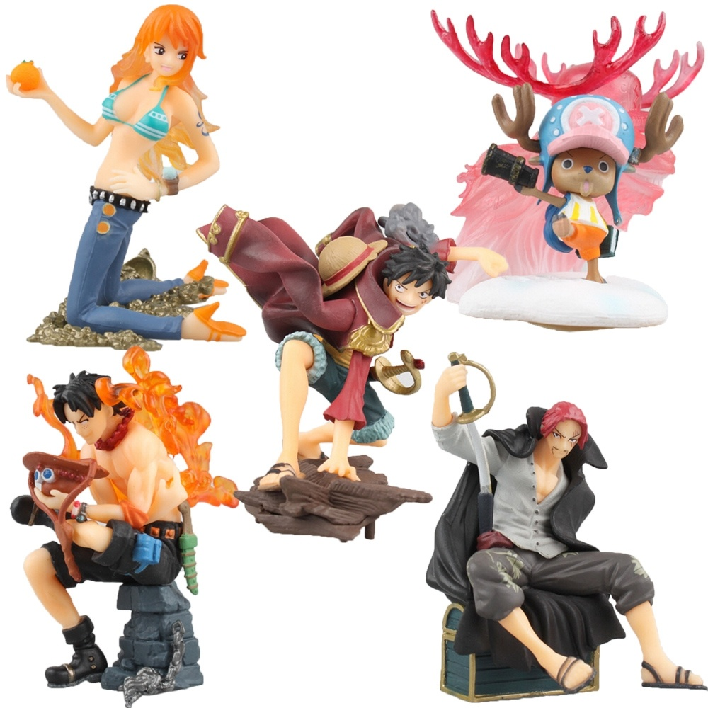 5pcs/set Anime One Piece Figurine Luffy/ Ace/ Shanks / Chopper /Nami PVC Action Figure Model Toy anime one piece beautiful nami model garage kit pvc action figure classic collection toy doll