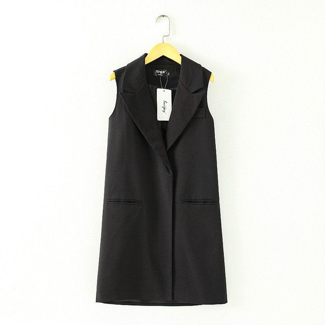 Autumn Vest Woman 2016 S-3XL Women's Summer Waistcoat Vest Female Black Color All-match Long Design Suit Vests Outerwear Tops