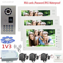 Rfid Video Intercom For The Apartment 7″Color 3 Screens With IP65 Waterproof  Home Phone Intercoms CCD 700TVL  Keypad Camera 1v3