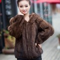 New Spring Genuine Knitted Mink Fur Coats Top Fashion Natural Mink Fur Jackets Vests Hooded Fashion Outerwear BF-C0083