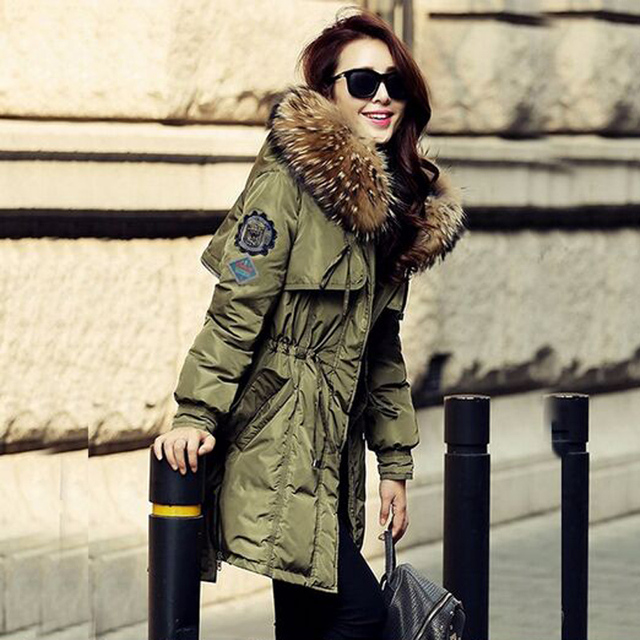 32e00af5c7cd2 Winter Jacket Women 2018 Large real Raccoon Fur Collar Army Green Hooded  Jacket Thick Coat For