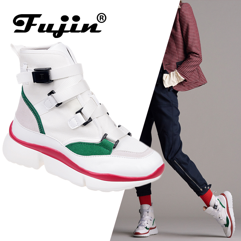 Fujin Casual Shoes Women's Spring Autumn Sneakers Buckle Strap High Low Top Lady Fashion Sneakers Platform Shoes Footwear