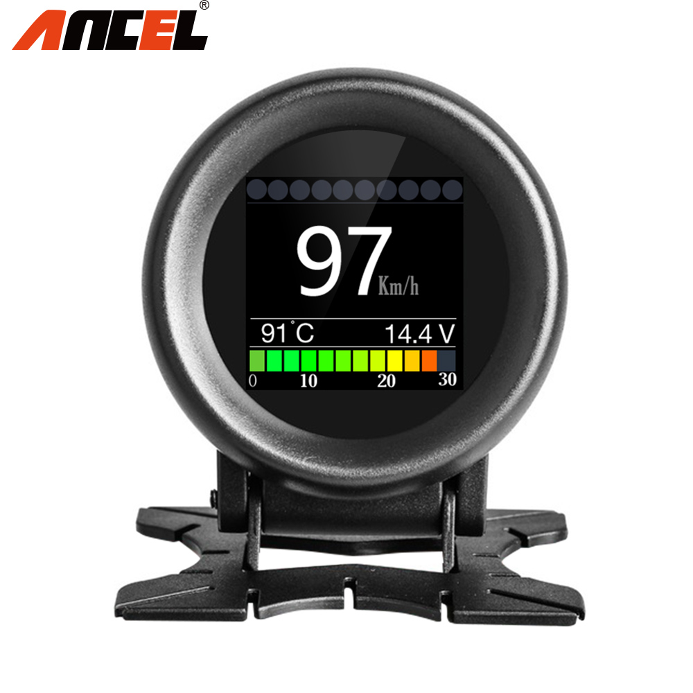 ANCEL A205 On-board Computer For Car OBD2 Digital Fuel Consumption Meter Water Temperature Over Speed Alarm Tester HUD Display