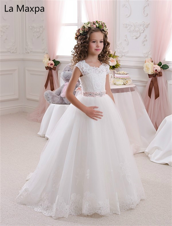 New Lace Bow Tutu Dress Girls Princess Wedding Birthday Party Dress Children's Handmade White Casul Mesh Perform Dresses pudcoco baby girls dress toddler girls backless lace bow princess dresses tutu party wedding birthday dress for girls easter