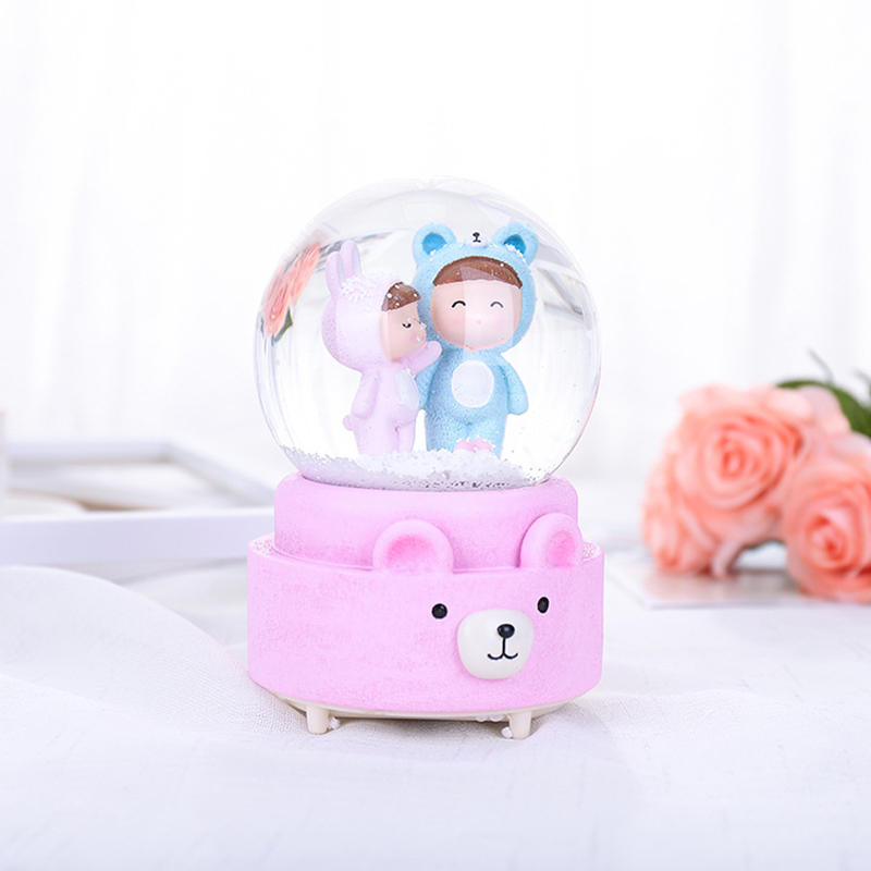 Nordic Cartoon Moon Girl Crystal Ball Music Box Snow Globe Colorful Lights Snowball Decorative Ball Birthday Gifts Home Decor Home & Garden