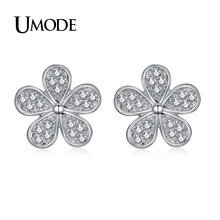 UMODE Cute Flower Small Stud Earrings for Women White Gold Color Paved Shiny Austrian Cubic Zirconia Bijuteria Feminina AUE0321