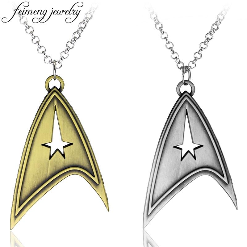 Star Trek Necklace Enterprise Command Logo Metal Pendant Communicator Darkness Starfleet Command Movie Statement Necklace