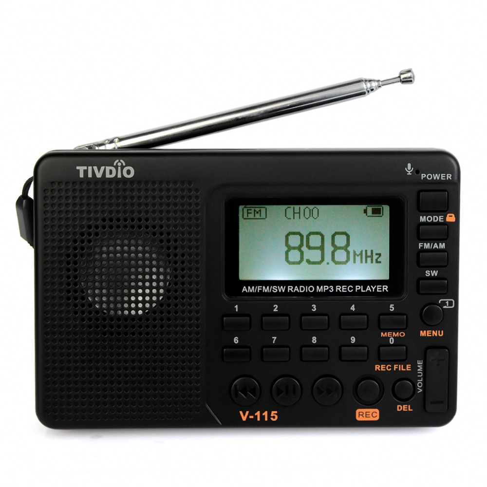 2pcs TIVDIO V-115 FM/AM/SW Radio Multiband Radio Receiver Bass Sound MP3 Player Recorder Portable Radio with Sleep Timer F9205 tivdio v 116 portable radio fm mw sw world receiver usb sd card with mp3 player sleep timer alarm clock e book calendar