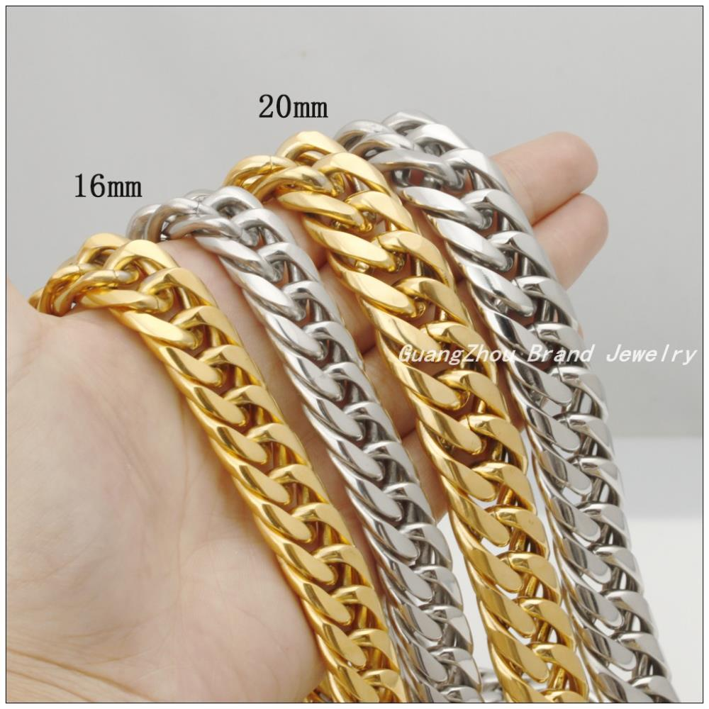 Hotsale Huge Heavy Fashion Jewelry 316L Stainless Steel 16mm/20mm Silver Gold Curb Cuban Chain Men's Boy's Necklaces 22