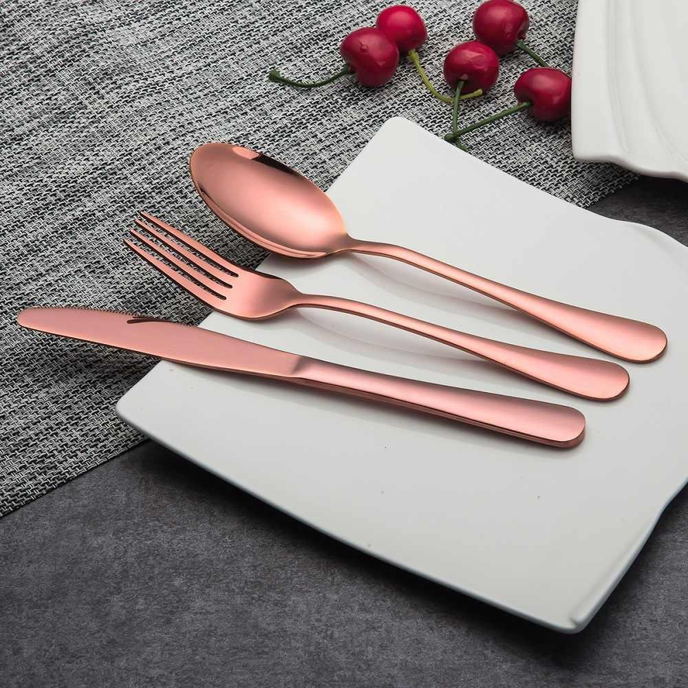 30 Pcs KuBac Hommi คุณภาพสูง Rose Gold ชุดช้อนส้อมมีดสแตนเลสส้อมช้อนโต๊ะสแตนเลสอาหารเย็นเครื่องมือห้องครัว