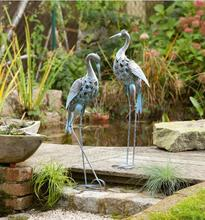 Free shipping,2pcs/set,High-74cm,Villa Garden Decoration Housewarming Gifts Grey Old Cranes Waterfowl Garden Decorations