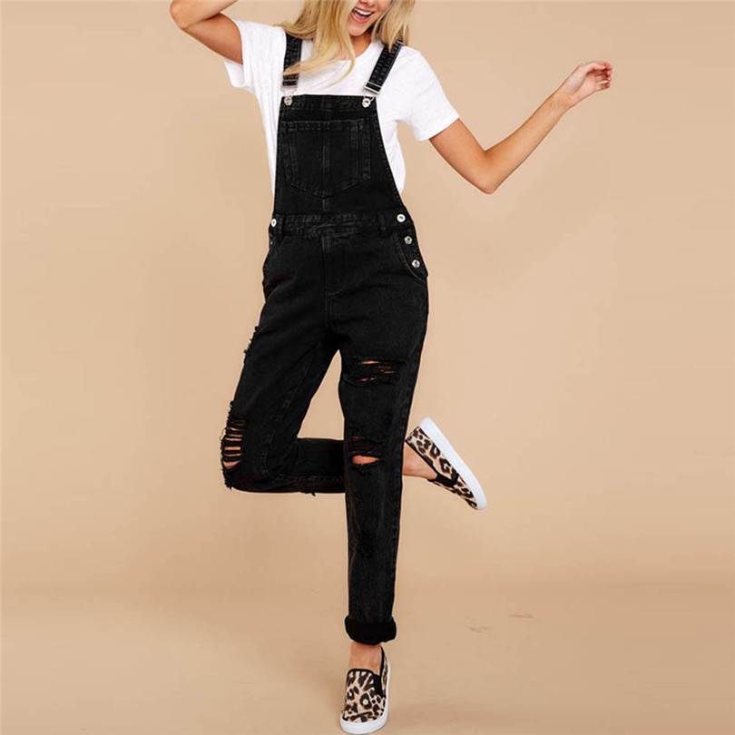 Women Sexy Denim Jeans Summer Fasihon New Autumn Bib Pants Hole Overalls Jeans Straps Demin Trousers Rompers #4F05 (4)