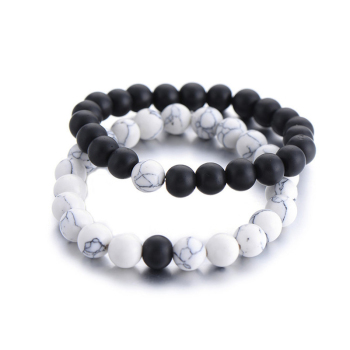Classic Natural Stone Yin Yang Beaded Bracelets, 2Pcs/Set Bracelets Jewelry New Arrivals Women Jewelry