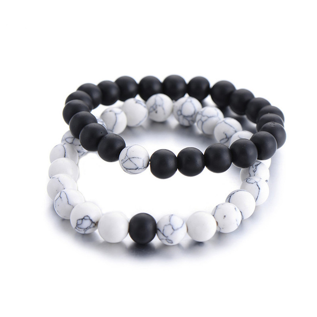 Beaded Stone Bracelet 2 pcs Set