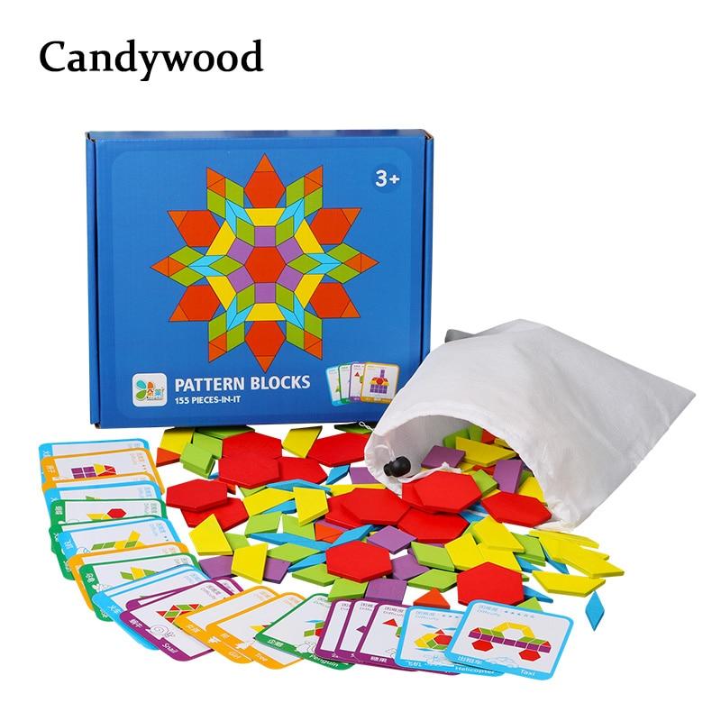 155 pièces Puzzle créatif enfants jouets en bois pour enfants Puzzle enfants début d'apprentissage jouets éducatifs Montessori