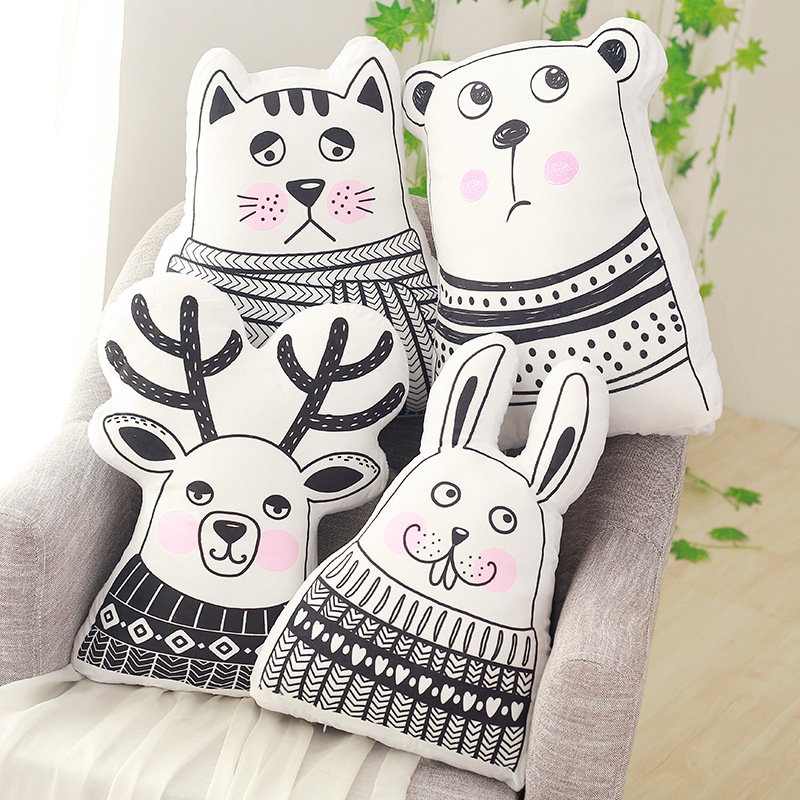 Cartoon Animals Bear Cat Deer Rabbit Shape Cushion Pillow Nordic Style Kids Bed Room Decor Baby Calm Sleep Dolls Photo Props Toy mysterious cartoon meow star cute cat cushion simulation decorative pillow