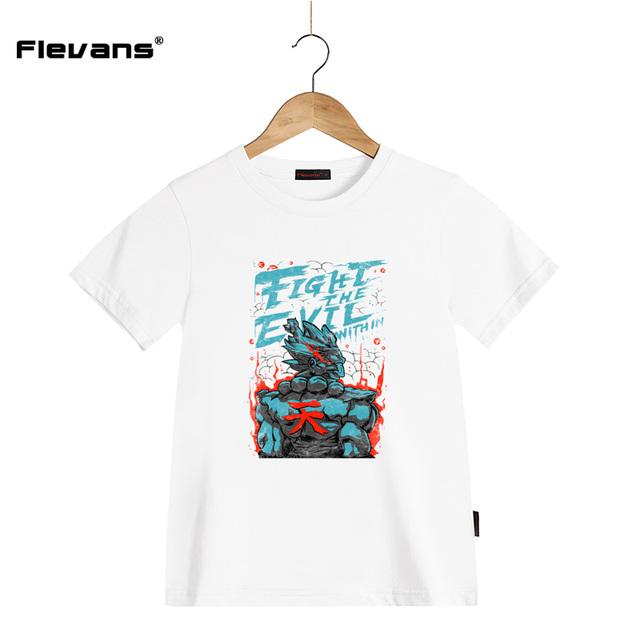 T-shirts pour Enfants Garçons Street Fighter GOUKI Akuma Impression Enfants T-shirt À Manches Courtes Tops