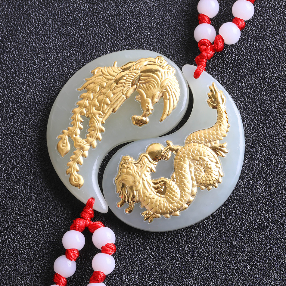 Natural Gold and Hetian Jade Pure Solid 24k Gold Dragon Phoenix Lucky Amulet Pendant + Necklace + Certificate Fine Jewelry 8661