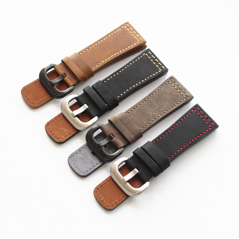LUKENI Handmade 28mm Genuine Leather Watchbands Brown Gray Black Watch Strap For Men Seven Friday Watch Hour With Buckle все цены