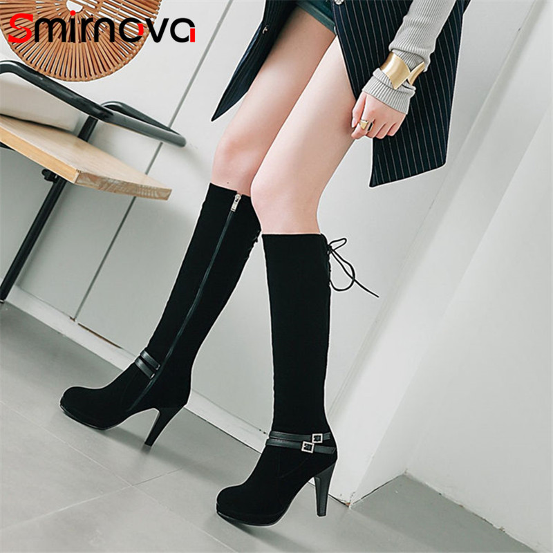 Smirnova NEW fashion 2020 <font><b>sexy</b></font> <font><b>extreme</b></font> <font><b>high</b></font> <font><b>heels</b></font> platform <font><b>boots</b></font> ladies winter knee <font><b>high</b></font> <font><b>boots</b></font> elegant flock woman <font><b>boots</b></font> image