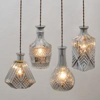 Modern Glass Lamp Vintage Wine Bottle Pendant Lights CafeRoom Bar Lamp Single Glass Pendant Lamps Decoration