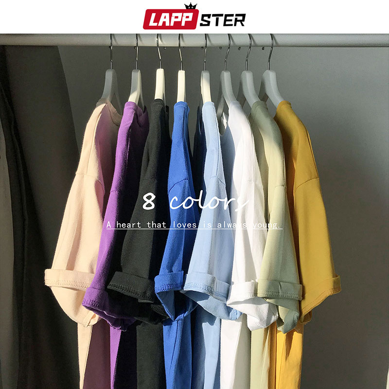 LAPPSTER Dropshipping Harajuku Solid Funny Tshirts Summer 2020 Men Colorful Hip Hop T-shirts High Quality Cotton Packa Tops Tees