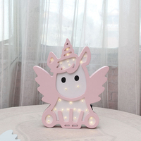 LED Night Light Unicorn Shape Nordic Cartoon Wall Hanging For Battery Operated Luminaria Romantic Bedroom Decor Lamps