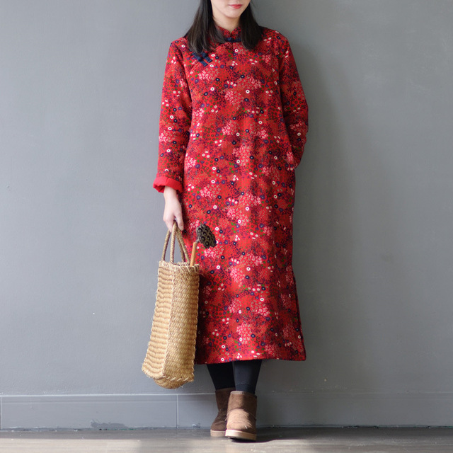 917f3d514dc SCUWLINEN 2019 Women Winter Dresses Vintage Print Handmade Plate Buttons  Loose Quilted Linen Cotton Dresses for
