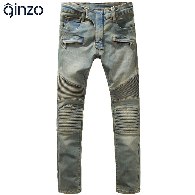 Men's fashion slim vintage biker jeans Casual thick heavyweight stretch denim cargo pants Long trousers