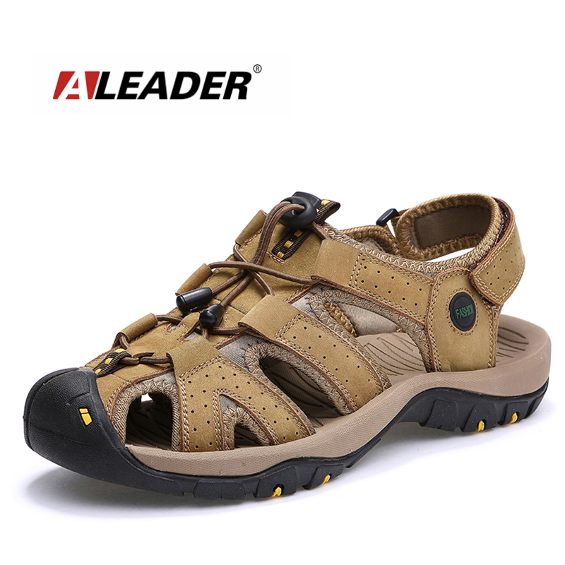 ALEADER Casual Beach Sandals Men 2017 Genuine Leather Shoes Outdoor Men Sandals Classic Comfortable Men Shoes Water Sandals