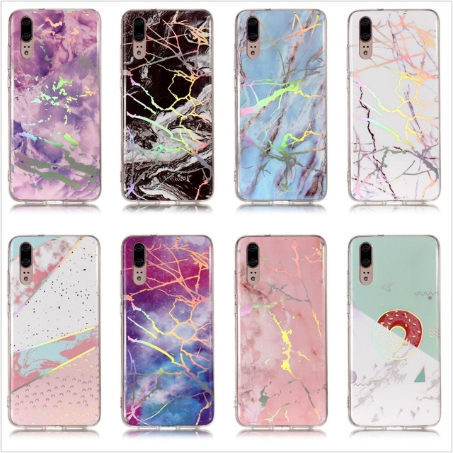 best service 98983 1d9d8 US $3.99 |Netarlier Newest Case For Huawei P20 LITE Pink White Purple Black  Donut Holo Marble Ultra Thin TPU Soft Glossy Back Case Cover-in Fitted ...