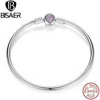 BAMOER Authentic 100 925 Sterling Silver Snake Chain Heart Bangle Bracelet Luxury Jewelry PS904
