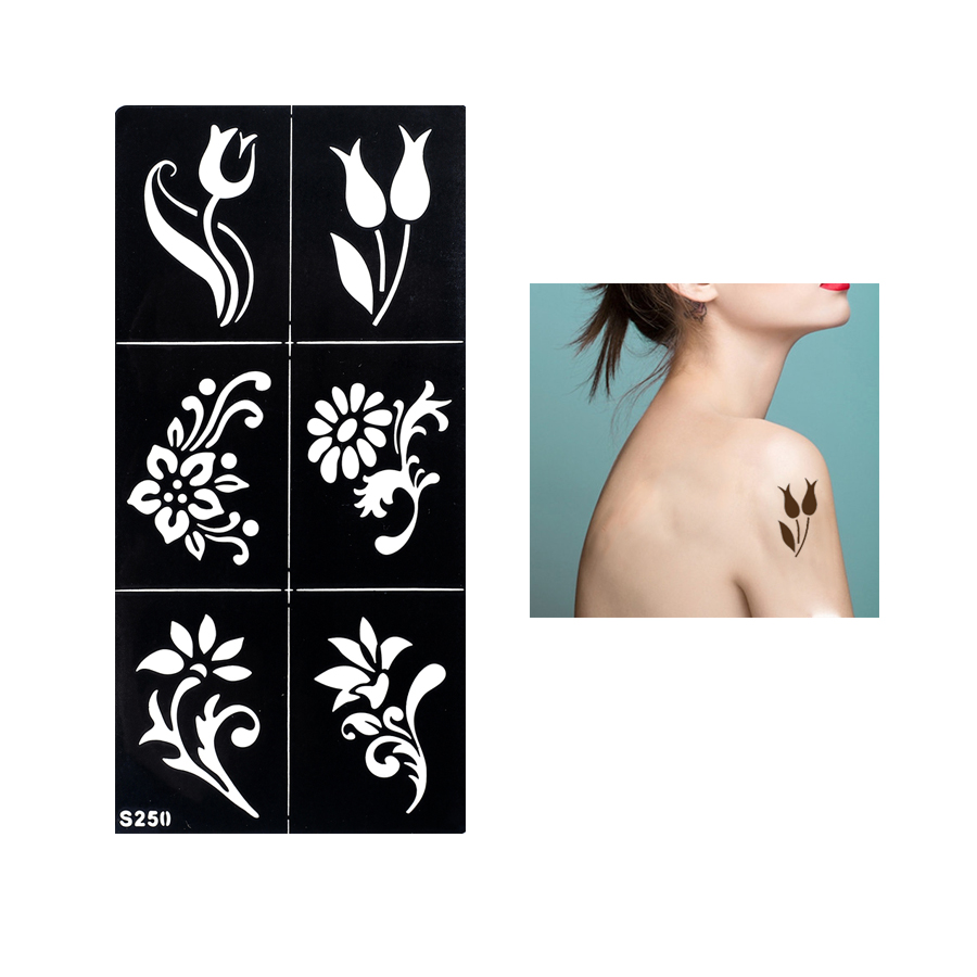 1 Sheet Fake Henna Stencil Tattoo Waterproof Temporary Flower Tattoo for Women Body Arm Leg Art Tattoo Sticker Paper Design S250