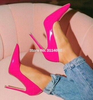 fce8dd953 Для женщин Большая распродажа Лакированная кожа туфли-лодочки с острым  носком обувь на каблуке 12