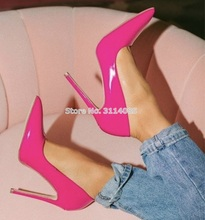 Women Big Sale Patent Leather Pointed Toe Pumps 12cm Heel Wedding Shoes Shallow Cut Nude Red Pink Banquet Dress Shoes Plus Size цена в Москве и Питере