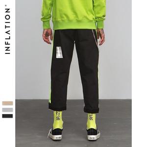Image 3 - Pantalones rectos informales por los lados de fluorescencia inflados, ropa de calle, estilo Hip hop, pantalones holgados de corte Cargo, pantalones de marca de algodón de 8863W