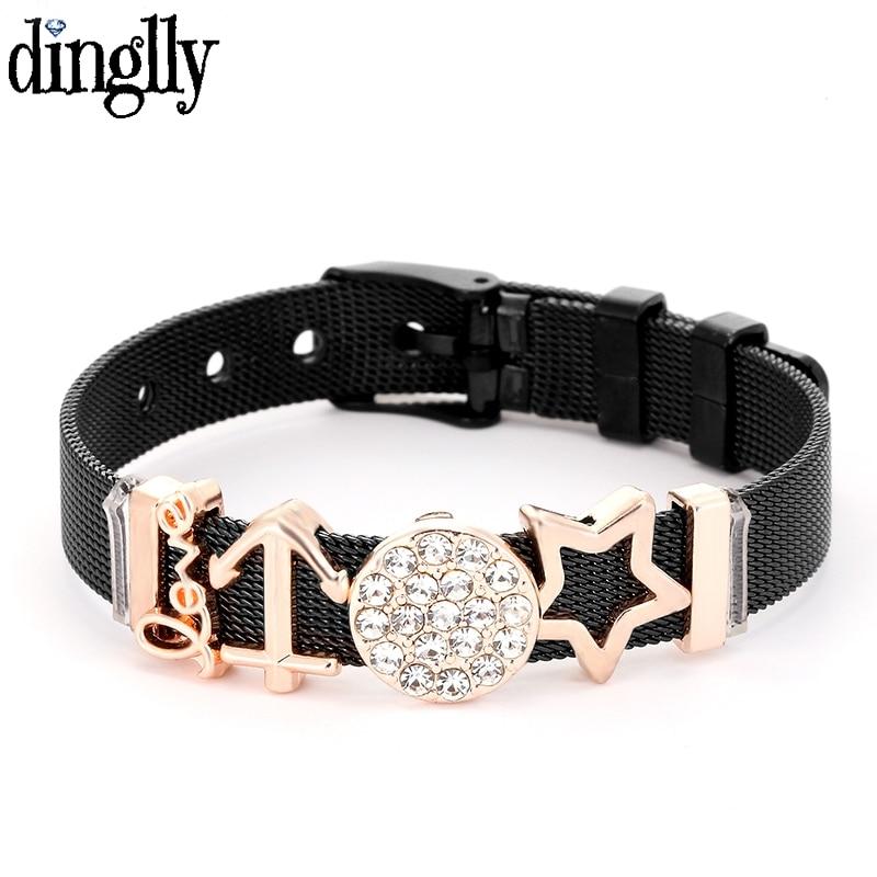 DINGLLY Rose Gold New Black Stainless Steel Mesh Bracelets For Women Original Shining Stars Sun Anchor Beads Brands Bracelets(China)