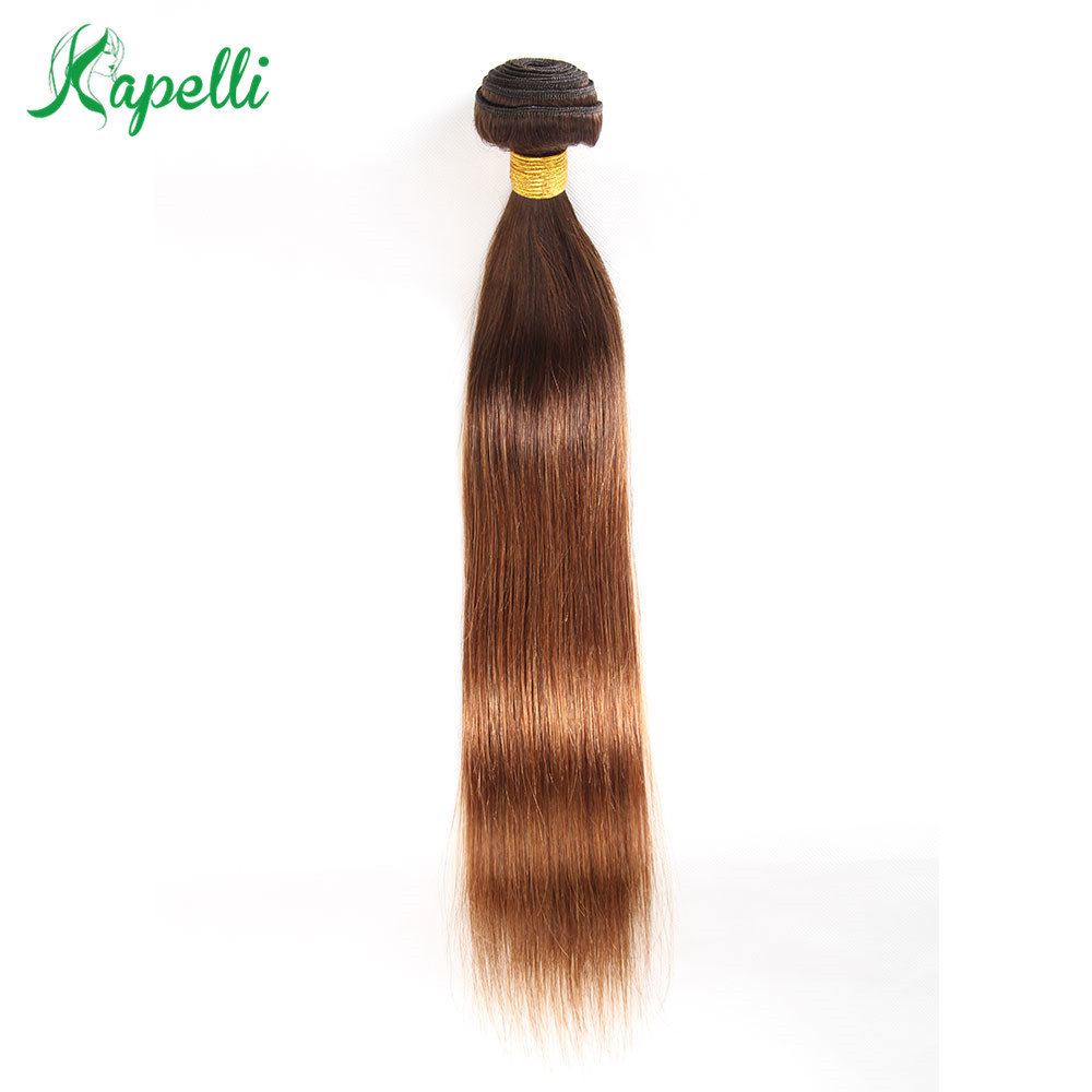 #4/30 Brown Straight Brazilian Hair Weave Bundles 1 Piece Non Remy Human Hair Extensions Pre Colored Hair Weave 100 Gram