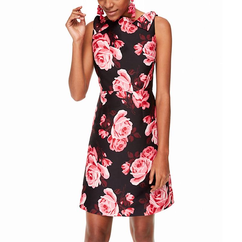 Fait Manches Imprimer Sexy Robe 10xl Slim Femmes V Rose Ligne Cou Retour Plus Sans Taille Fleur Une Vintage 3xs Personnaliser Rétro Fit dZUpwd