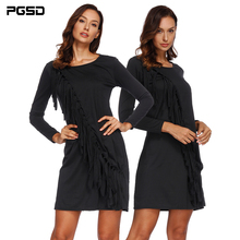 PGSD Autumn Winter Simple black Women Clothes Fashion sexy oblique Tassels Long sleeved O-Neck Repair body short Dress female