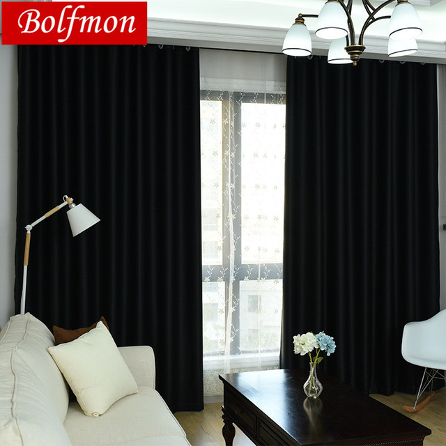 2 Colors High Shading Rate 98% Video Inside Black Chocolate Blackout Curtains for Bedroom Coffee Blinds Window Treatment Draps