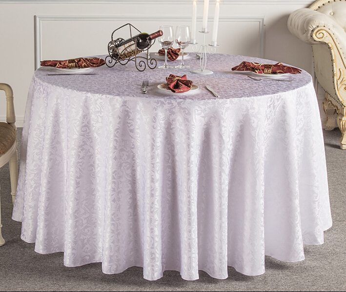 hotsale fashion durable European style beige jacquard polyester restaurant round table cloth table cover